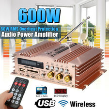 600W 12V Mini Stereo Amplifier Car Home Bass HIFI 2CH AMP USB SD FM MP3
