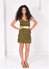 Alice + Olivia Willow Ruffle Knit Dress with Raffia Belt Olive Green XS 0 2 $367