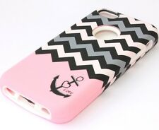 iPhone 5C -HARD & SOFT SILICONE HYBRID ARMOR CASE COVER PINK GREY CHEVRON ANCHOR