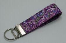 Purple Paisley Key Chain Ring Fob Handmade Custom Designer