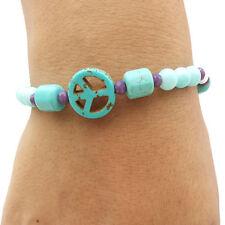 Turquoise Peace Sign Bead Bracelet Womens Charm Fashion Handmade Boho Jewelry