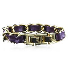 "Purple Leather Link 7"" Bracelet $69 Qvc Joan Rivers Couture Classic Woven"
