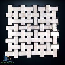 Carrara Marble Basketweave Mosaic Tile Wall Floor Kitchen Bathroom Splashback