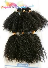 UK 6Pcs Set Afro Kinky Curly Hair Wefts. Full Head Synthetic Weave for Sew In 1B