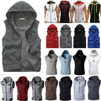 Mens Sleeveless Hoodie Vest Tank Top Sport Jog Muscle Hooded Coat Jacket Sweater
