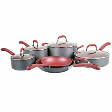 Bella 10-Pc. Hard Anodized Ceramic Red Cookware Set