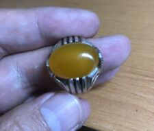 925 Sterling Silver mens Natural yellow agate  ring size 11