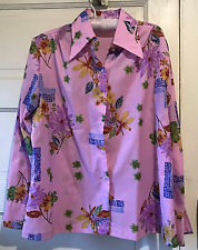Vintage Pink Lavender Polyester Floral Shirt Size 38