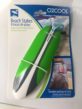 New O2Cool Set of 4 Beach Stakes - Keep Your Beach Towel in Place! - Green