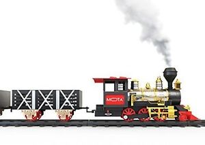 MOTA Classic Holiday Christmas Train Set Real Smoke Authentic Lights And Sounds