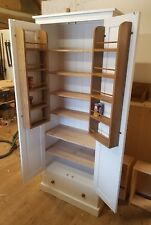 Larder Pantry Cupboard with Spice Rack & Drawer - 80cm wide UK Made Solid Pine