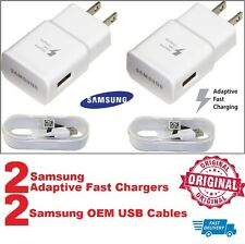 2 OEM Adaptive Fast Charger for Samsung Galaxy Note 4/5 S6/S7 EDGE & 5FT Cables