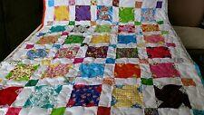 Girl Boy Handmade Handcrafted Pieced Scrappy Stars Baby Lap Crib Throw Quilt