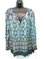 J Jill PL Blue Black Green Print Tunic Shirt Long Sleeve V Neck Pullover Petite