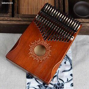 Kalimba Instrument 17 Touches Musique Piano Bois Acajou & Marteau