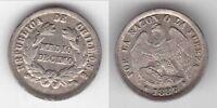 CHILE - RARE SILVER 1/2 DECIMO UNC COIN 1887 YEAR KM#137.3