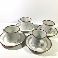 Set 4 Vintage Dansk Denmark Brown Mist Cups & Saucers Blue/Impressed Backstamps