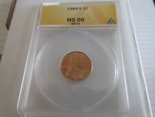 1969-S , Lincoln Penny , MS 66 , Red , Anacs