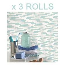 White Teal Silver Tile Effect Wallpaper Brick Granite Oblong Glitter Shiny x 3
