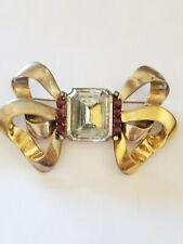 Eisenberg Original Giant CLEAR & RED STONE  Goldwash Double Bow Pin