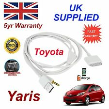 For TOYOTA YARIS iPhone 3gs 4 4s iPod USB & Aux 3.5mm Audio Cable white