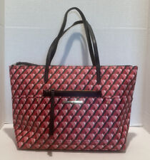 Liz Claiborne Black/Red/Pink Design Extra Large Tote Bag With Makeup Bag