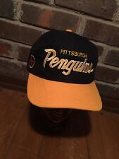 Vintage Pittsburgh Penguins Snapback Hat Sports Specialties Script Black Yellow