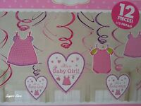 Baby Shower 12 Dangling Swirl Decorations It's a Girl Party Supplies