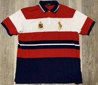 Men's RARE Polo Ralph Lauren 1924 Crest Polo Shirt Red White Blue Size 3XLT NWT