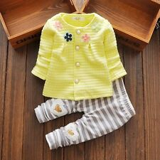 baby girls clothes outfits spring outfits flower cardigan& pants yellow 9-12M