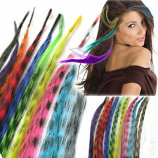 Bunte Haarsträhnen 10x Grizzly Feather Hair Extensions Feder Strähnen Microringe