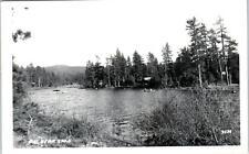 RPPC BIG BEAR LAKE, CA  LAKE SCENE, BOATS, CABIIN  c1950s  Postcard