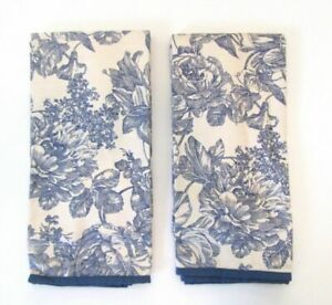 Waverly Garden Room Blue Toile Tailored Tier Curtain Panels 32x36 Set Of 2