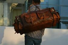 "30""Men's genuine Leather luggage gym weekend overnight duffle bag large vintage"