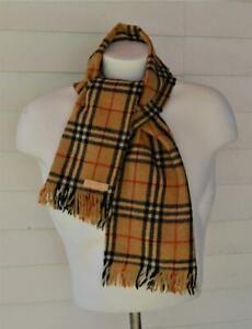 "Auth Burberrys of London Men's plaid fringe scarf 52"" x 11"" 100% Wool Scotland"
