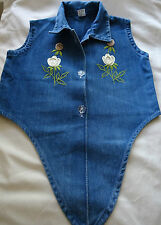 "Girls blue denim embroidered tie-front Blouse 28"" chest"
