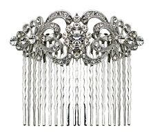 Bella Krystal Rhodium Plated Swarovski Crystal Hair Comb 8cm bridal wedding