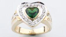 14K Oro Giallo Donne Diamante a Forma di Cuore Verde Tormalina Anello Bello