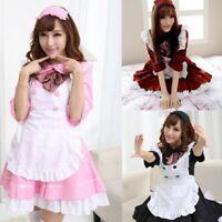 Lady Japanese Cute Waitress Dress Lolita Half Sleeve Maid Anime Costume Cosplay