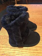 Teeny Toes Myra Black Winter Fur Snow Boots Toddler Size 3 - NWT