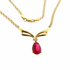 Pendant Necklace 1.85 Ct 5.4g Vintage 14k Yellow Gold Genuine Ruby