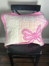 Maggie & Zoe Pink & White Shams Pillow Covers Standard with butterflies