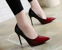 Women Shoes Pointed Toe Pumps Patent Leather High Heels Gradient Colored Sandals