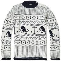 NEW, THOM BROWNE MEN'S WHITE CHUNKY KNIT OCTOPUS PRINT SWEATER, 4, $1550