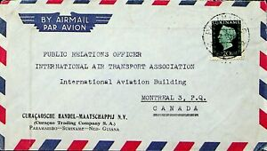 SURINAME 20c ON A/M COVER FROM CURACAO TRADING CO. NED. GUIANA TO CANADA