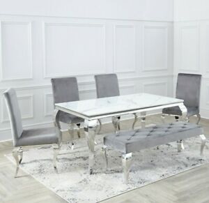 Louis Dining Table Rectangle 1.6m - 2m Chrome Glass Top 4-8 Seater.