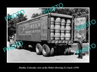 OLD LARGE HISTORIC PHOTO OF PUEBLO COLORADO, THE WALTER BREWERY TRUCK c1950 2