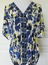 ALFANI Ladies Blue/Yellow V-Neck Top-Short Sleeves- Size Large