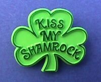 Hallmark PIN St Patrick Vintage SHAMROCK KISS MY Irish Holiday Brooch