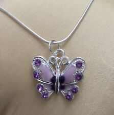 Silver 925 Necklace With Rhinestone Butterfly Design Pendant-Perfect Gift